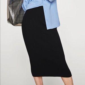 Zara Knit Super Skinny Black Pencil Skirt